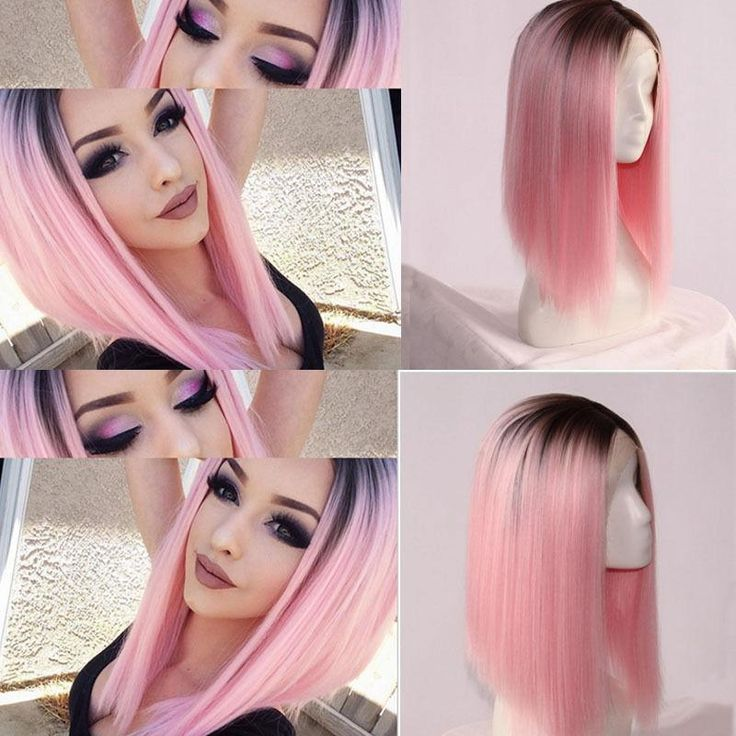 Heat Resistant Synthetic Lace Front Black&Pink Ombre Wigs Long Straight Bob Wigs #Unbranded #Bob