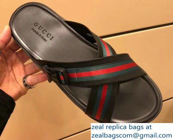 f836de29b8d Gucci Leather and Web Men  s Crossed Straps Slipper Sandals 2018 ...