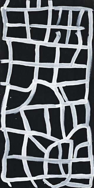 Untitled (Yam) (1995) by Australian Aboriginal artist Emily Kame Kngwarreye (c.1910-1996). Synthetic polymer paint on linen, 122 x 61 cm. via Deutscher and Hackett
