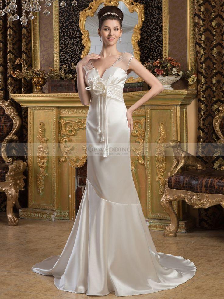 Sheer Shouldered Mermaid Satin Wedding Dress with Floral Decor