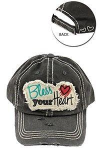 One Faith Boutique - Bless Your Heart Distressed Ball Cap ~ Charcoal , $14.00 (https://www.onefaithboutique.com/accessories/bless-your-heart-distressed-ball-cap-charcoal/)