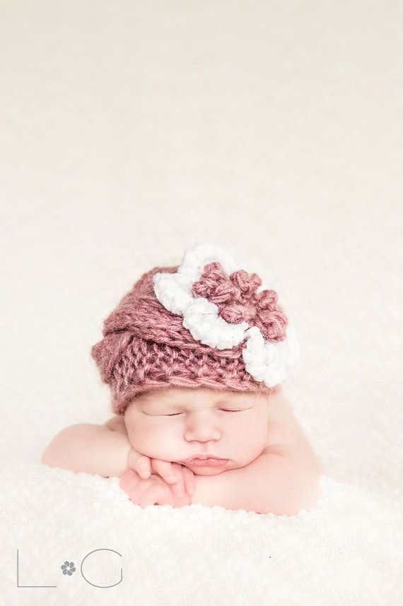 Baby Girl Beanies Knit Baby Girl Hats Baby Beanie Hat by effybags, $19.50