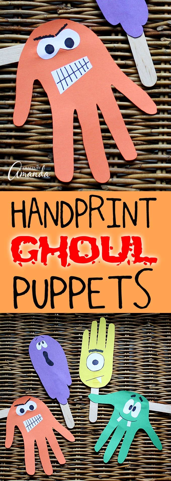 Halloween classroom crafts - Handprint Puppets For Halloween Ghoulish Fun For Kids