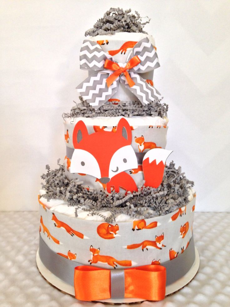 3 Tier Fox Theme Diaper Cake, Fox Baby Shower Centerpiece, Woodland Baby Shower Decoration by AllDiaperCakes on Etsy