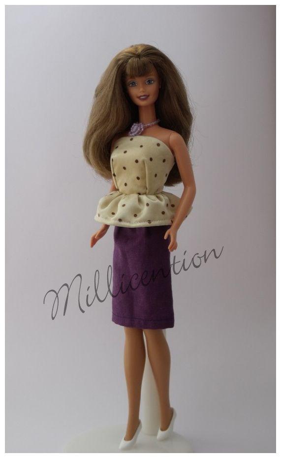 Cream polka dot peplum Barbie doll top & pencil skirt