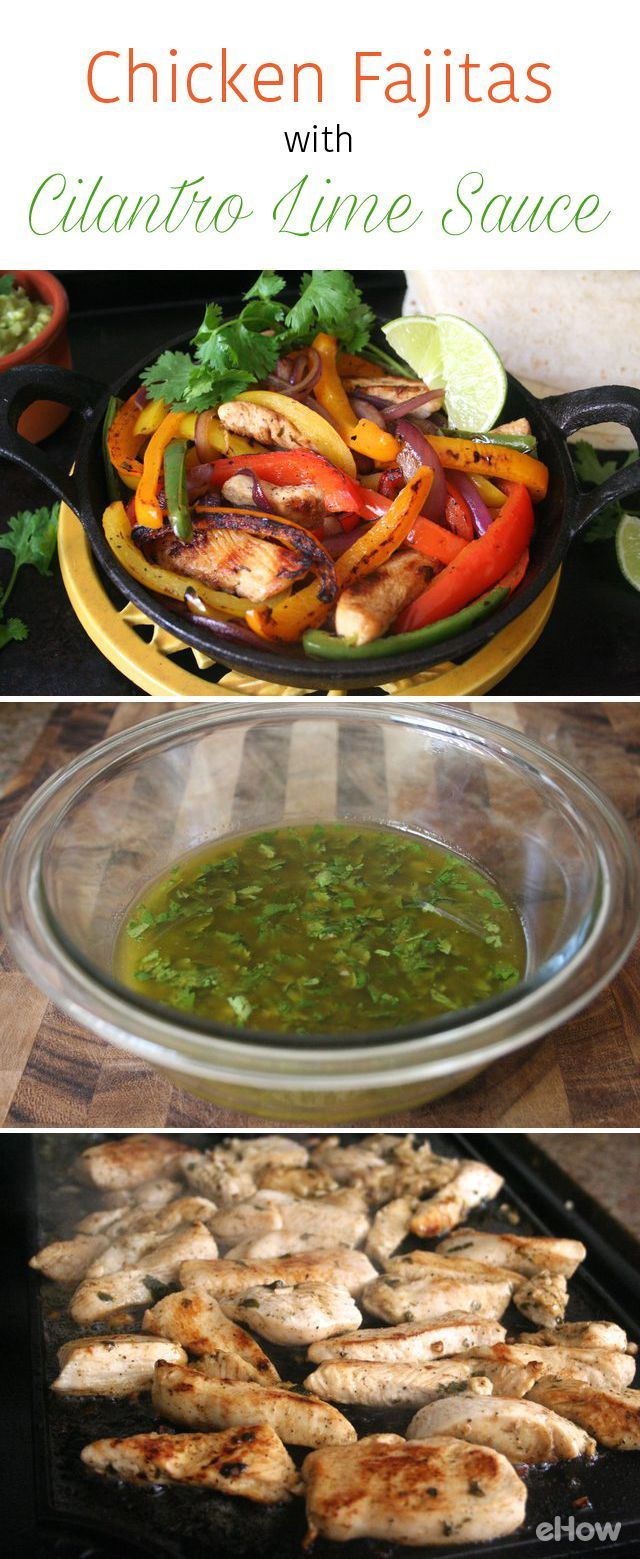 Craving Mexican? This chicken fajita recipe with cilantro-lime sauce will satisfy your cravings! Recipe here: http://www.ehow.com/how_12343527_make-chicken-fajitas-lime-cilantro-sauce.html?utm_source=pinterest.com&utm_medium=referral&utm_content=freestyle&utm_campaign=fanpage