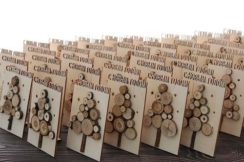 Деревянные открытки, необычные открытки, новогодние открытки, производство новогодних открыток.