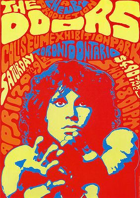 The Doors vintage repro concert poster USA | eBay  --Pretty wild color scheme!