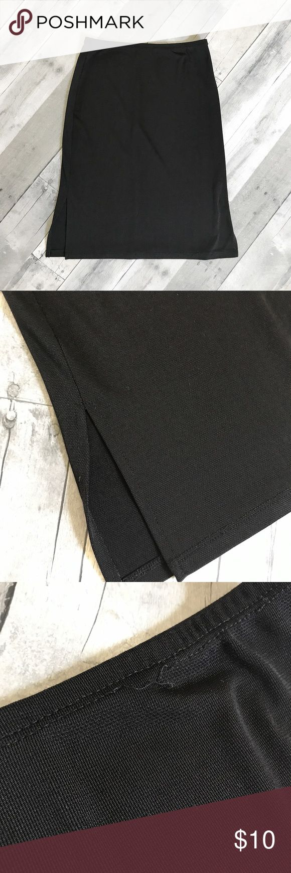 Slip Skirt Super cute slip skirt in great condition! Thin and slightly sheer, but a cool texture to it. No tags inside, but fits like a Small. Black pencil style with side slits. Skirts Pencil