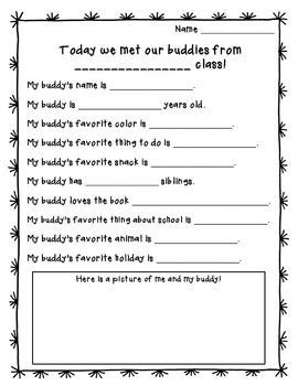 If your class has buddies in another class, this is the worksheet for you! Use it to help your students get to know each other!