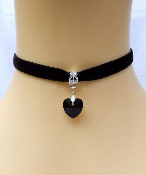 Gothic Velvet Heart Crystal Handmade Necklace