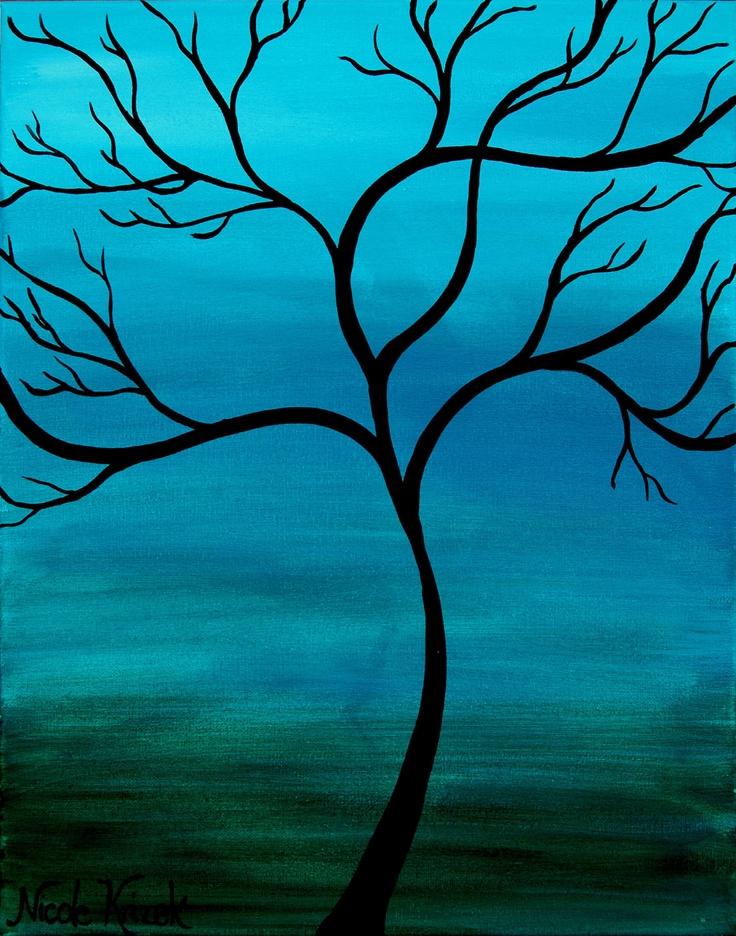 Origional Acrylic Tree Painting Print 8x10 by nkrizek on Etsy, $12.00