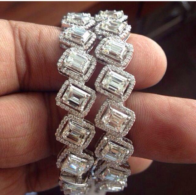 Emerald cut bangles
