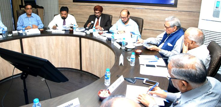 Working Committee Meeting in progress. From left to right : Mr. Arun Kumar Garodia, Regional Chairman (ER), EEPC India; Mr. BhaskarSarkar, Executive Director & Secretary, EEPC India; Mr. T. S. Bhasin, Chairman, EEPC India; Mr. R. P. Sehgal, Sr. Vice Chairman, EEPC India; Mr. Ramesh Maheshwari, Past Chairman, EEPC India and Mr. G. D. Shah, Past Chairman, EEPC India; Mr. M. C. Shah, Past Chairman, EEPC India