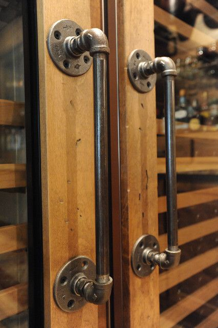 Cool handles DIY from galvanized piping-could also use in smaller form for dresser drawer pulls