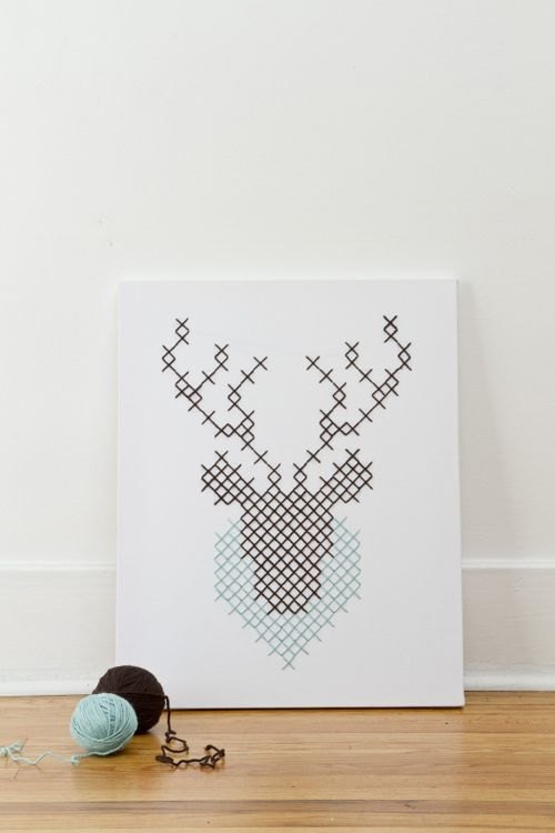 Ciervo de punto de cruz.   Heart Handmade UK: Deer in Headlights Giant Cross-Stitch by Jessica Decker + Kollabora