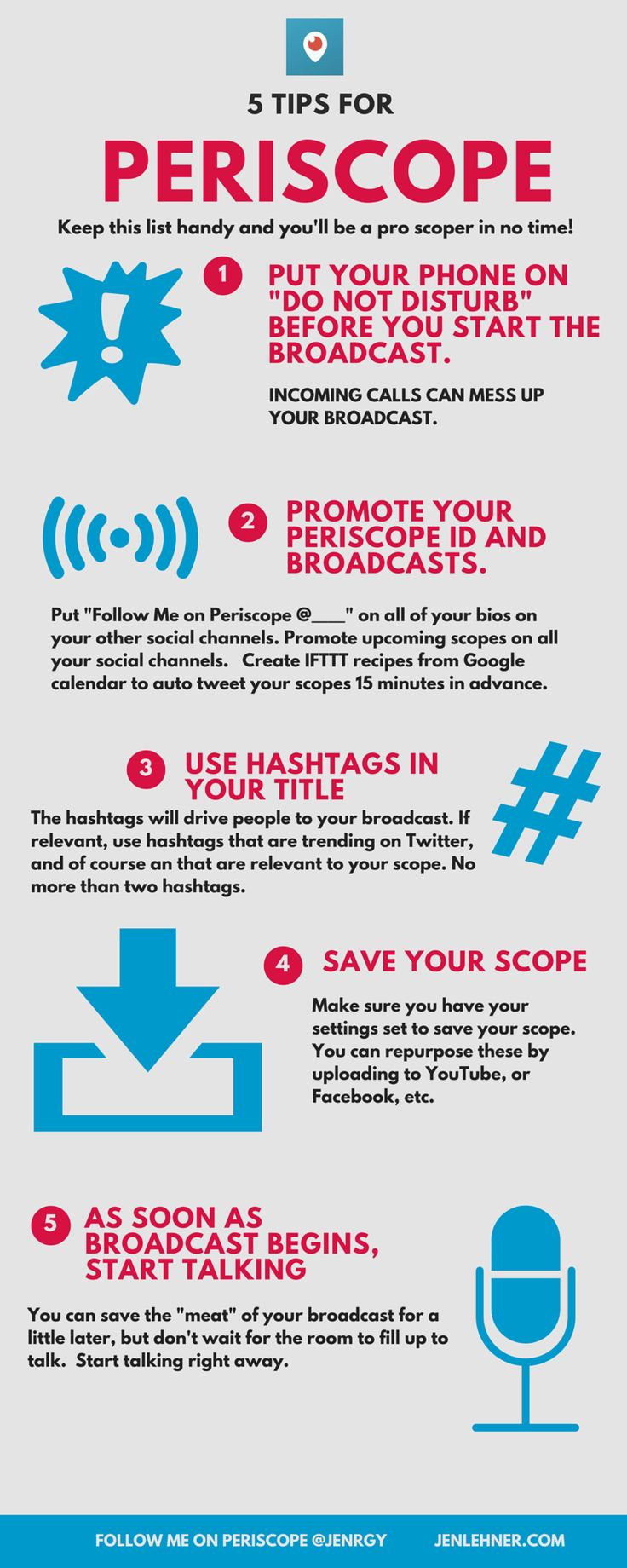 "Periscope is a game changer on so many levels.  If you aren't familiar with this new live streaming app, go to my videos on my Facebook page at facebook.com/thejenlehner and watch ""How to Use Meerkat and Periscope to Market Your business"".  Here are  5 tips for using Periscope. I hope you find it helpful.  Please feel free to join my Periscope group if you are interested in learning more. Facebook.com/groups/weheartperiscope  And make sure to follow me on Periscope @jenrgy"
