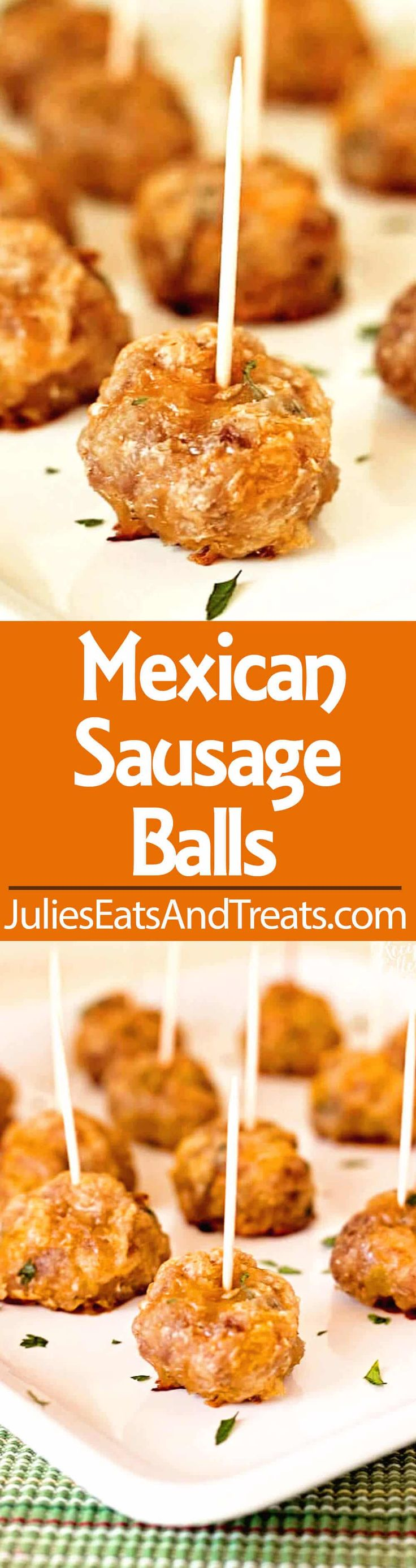 Mexican Sausage Balls - A quick and easy appetizer made with breakfast sausage you can make ahead of time and bake when you're ready! ~ https://www.julieseatsandtreats.com