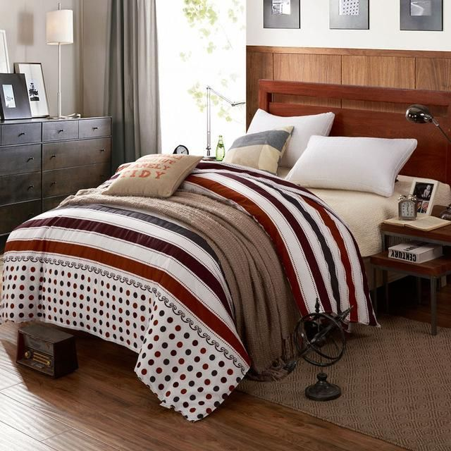 New 100% Cotton Duvet Cover Printed Colored Plaid Quilt Cover For Bed 220/240 Twin Full King Queen Size Brief Style Bedding Bag