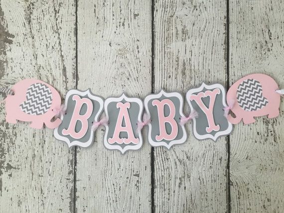 Chevron Elephant Baby Shower Banner Pink and от AllDiaperCakes