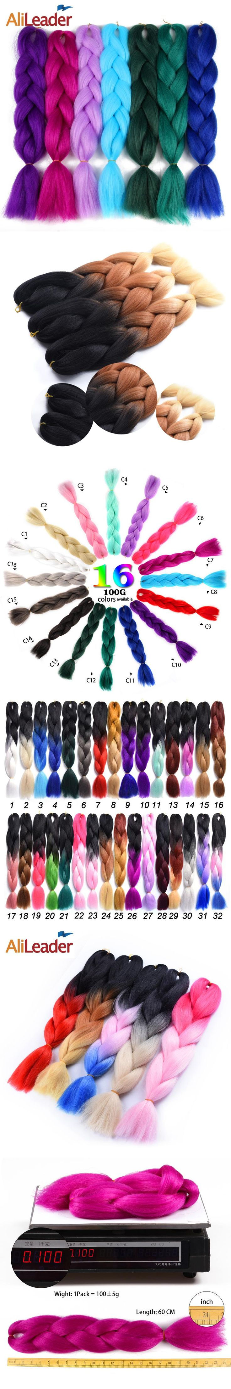 """AliLeader Pure Color And Ombre Kanekalon Braiding Hair 1B 2 4 27 33 613 99J Grey Synthetic Hair Jumbo Braids Extensions 24"""" 100G"""