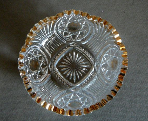 Set of 6 Vintage Dessert Bowl Ice Cream Dish Clear Pressed Glass Gold Trim Star Pattern & 173 best A Touch of GOLD images on Pinterest | Porcelain Tea cup ...