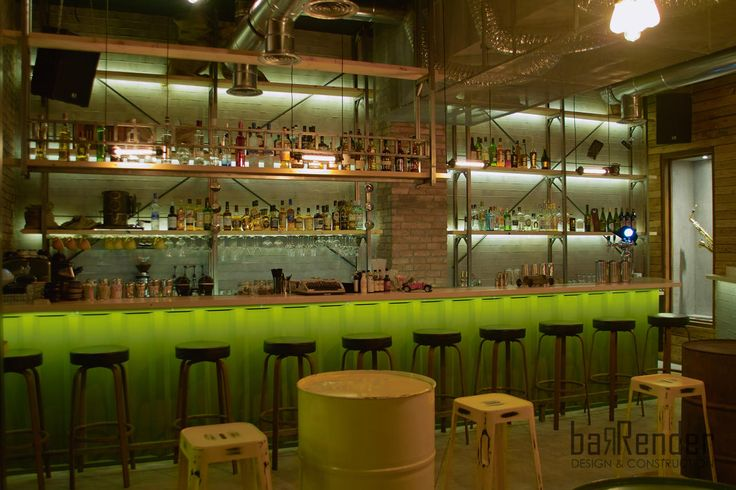 Bar front made of trapezoidal metal sheet painted olive green, bottle shelves inspired from building worksite scaffolding - Rag Doll Post modern bar in Athens.