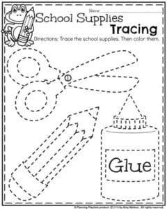 Back to School Preschool Worksheets - School Supplies Tracing.