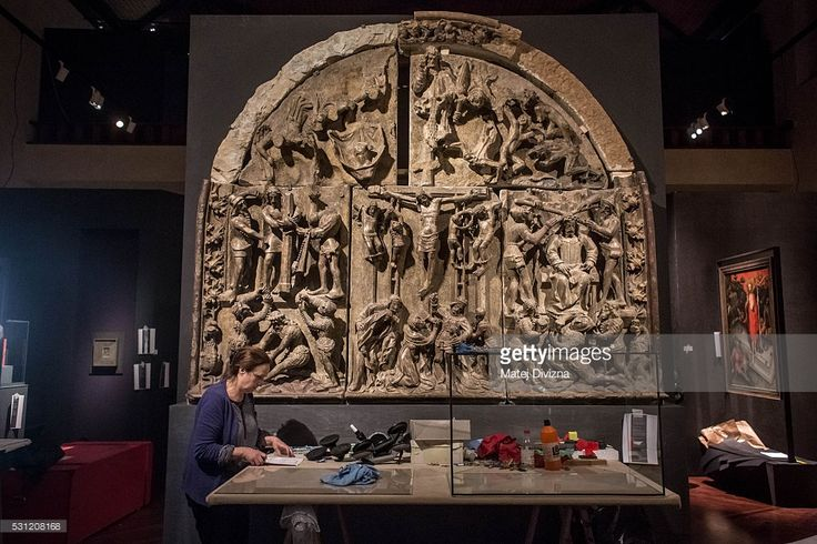 A worker makes final preparations for the 'Emperor Charles IV 1316-2016'…