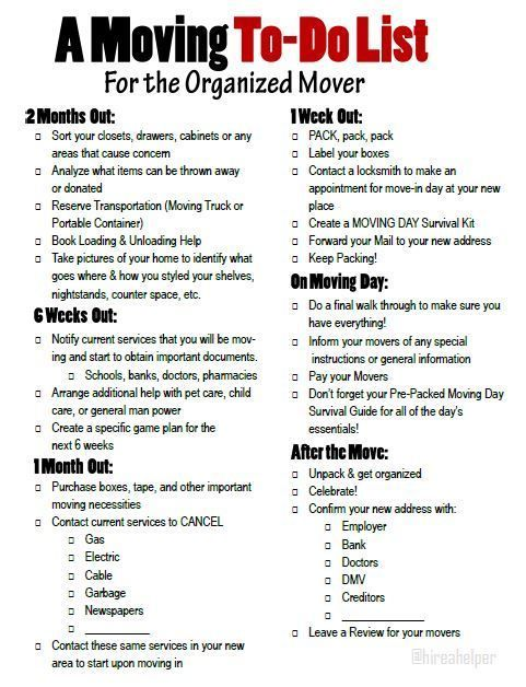 A moving to-do list for the organized mover. Free printable moving timeline.