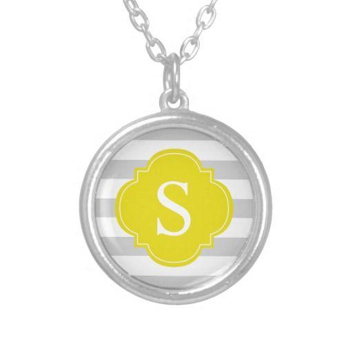 Yellow Gray Stripes Monogram Necklace
