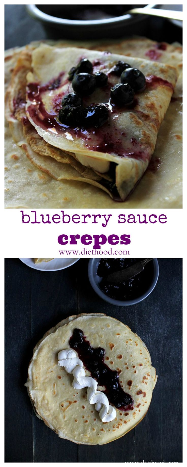 Blueberry Sauce Crepes with Honey Whipped Cream