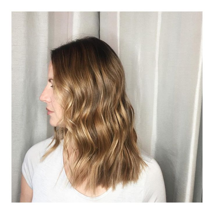 Babylights, balayage, warm caramel hair color