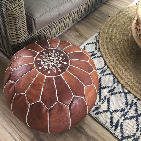 SALE ** STUFFED Moroccan Leather pouf ottoman with top embroidery in Dark Tan and White