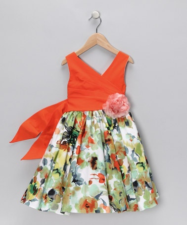 Take a look at this Orange Floral Surplice Dress - Toddler & Girls by Chic Baby on #zulily today!  Unique color combination...