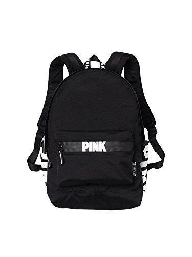 Victorias Secret Pink Campus Backpack Black White Logo In