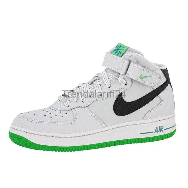 nike air force 1 mid pine green white background