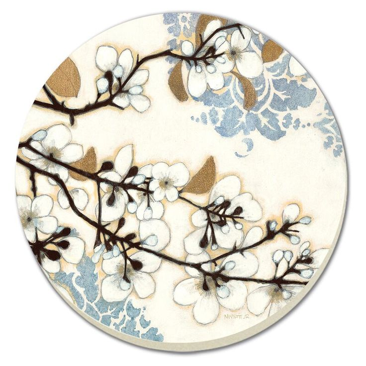 Winston Porter Dogwood Branch Absorbent Stone Coaster Dogwood Branches Decorative Prints Stone Coasters