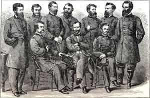 This picture shows General Sherman and his generals together. Sherman's March to Sea began in Atlanta on November 15th, 1864 and ended in Savannah on December 21, 1864.  After leaving Atlanta on November 16th, he went on a campaign which ended with the overtaking of Savannah on December 21st. Sherman had nearly 100,000 men at the beginning of his