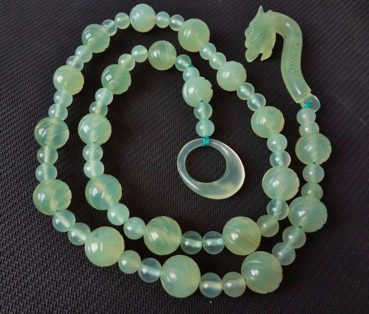 Vintage Chinese Translucent Icy Jade Hand Carved Bead