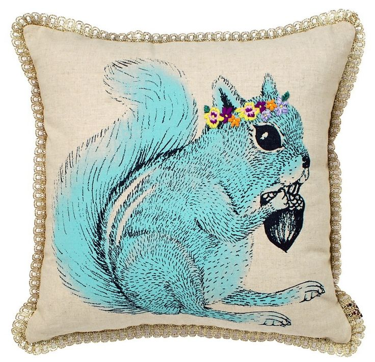 Cushion - linen with hand screen print with embroidery details