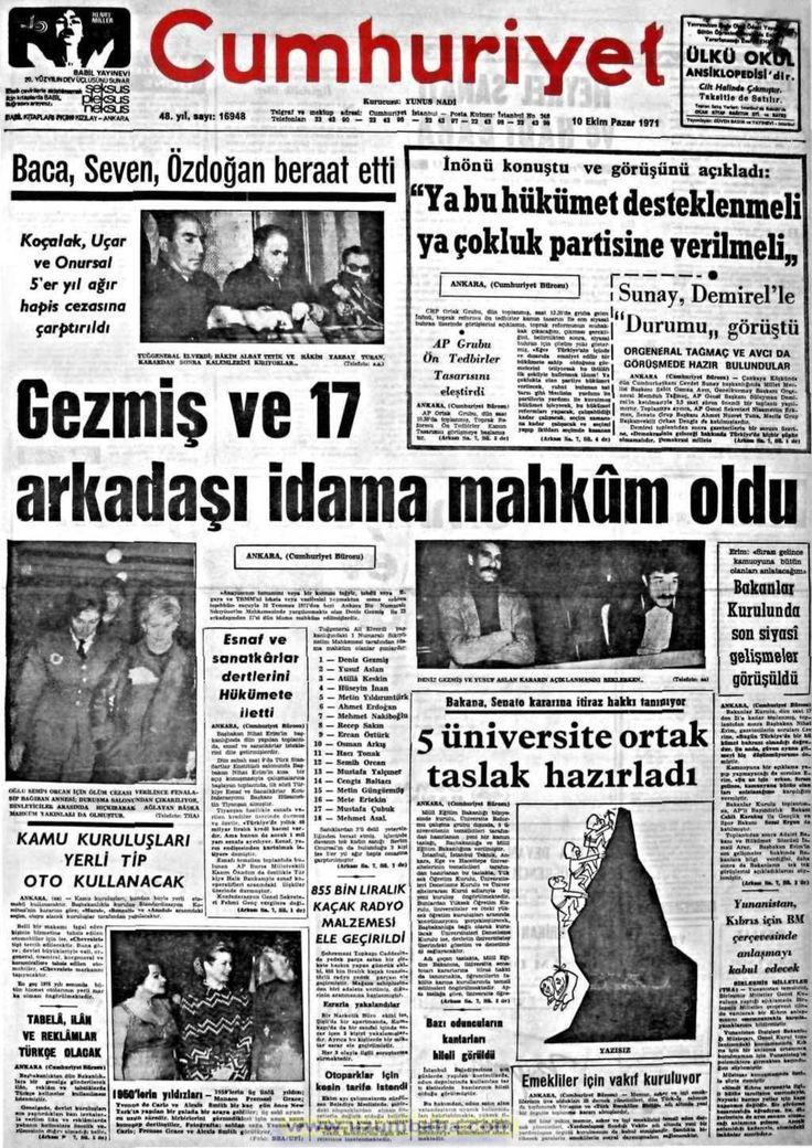 Cumhuriyet gazetesi 10 ekim 1971
