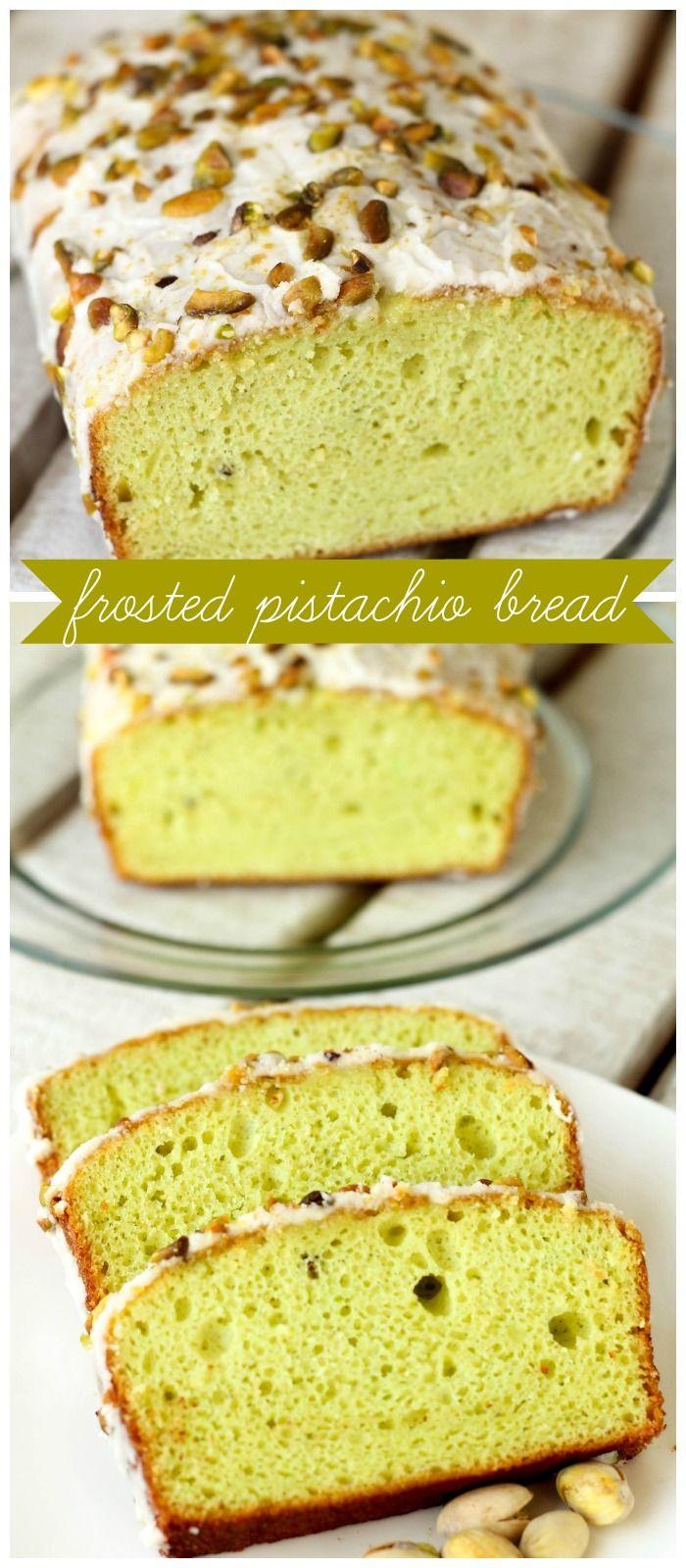 Frosted Pistachio Bread recipe on { lilluna.com }