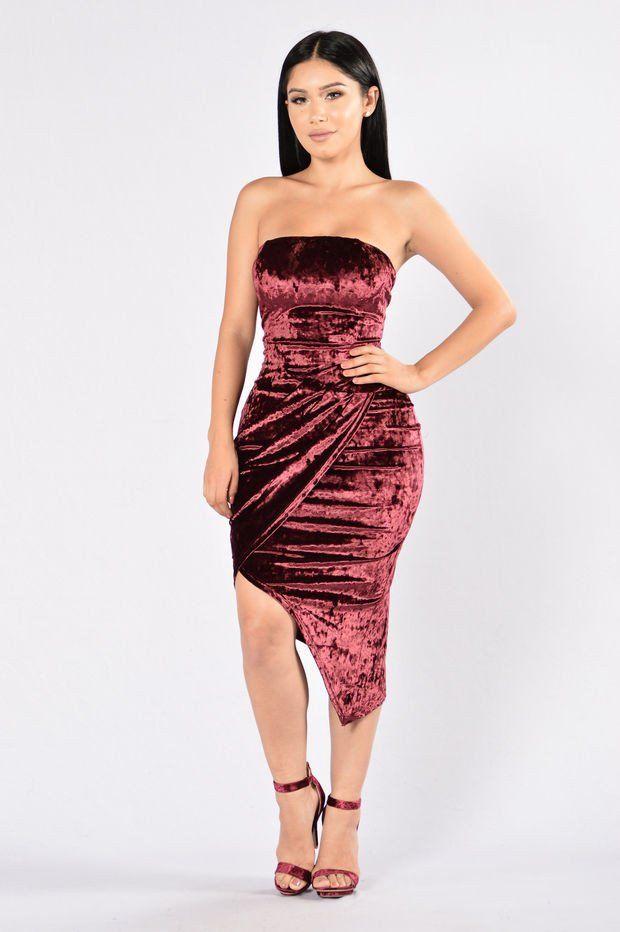 Velvet Forever Dress - Burgundy