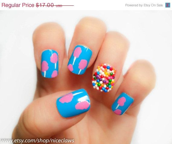 ON SALE Cotton Candy and Sprinkles Fake Nails Katy Perry Inspired. $15.30, via Etsy.