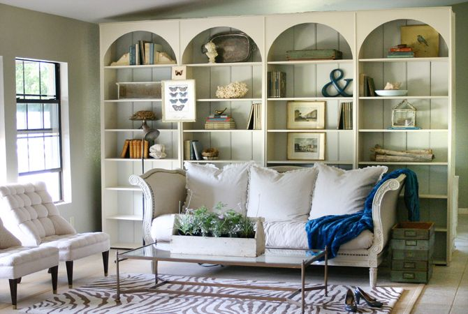 DIY bookcase re-do, added curves and color, created built-in look, = added interest & storage to the wall.  also love the chairs at leftBookshelves, Living Rooms, Bookcases, Built In, Livingroom, Book Shelves, Design Tips, Families Room, Room Dividers