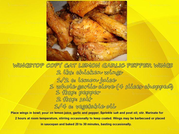 Wingstop Copycat Lemon Garlic Pepper Wings | Recipes ...