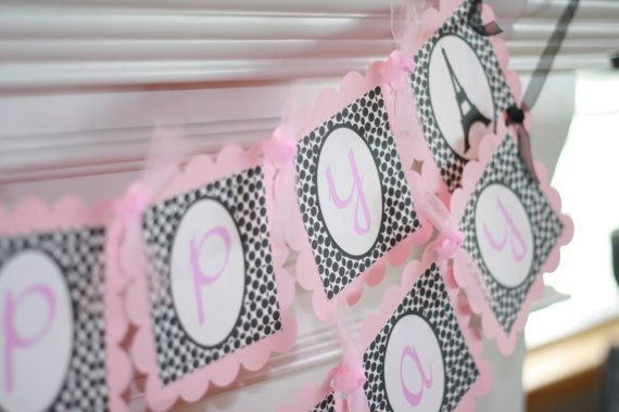 Happy Birthday French Paris Theme Banner  by DreamPartyPaperie, $28.00
