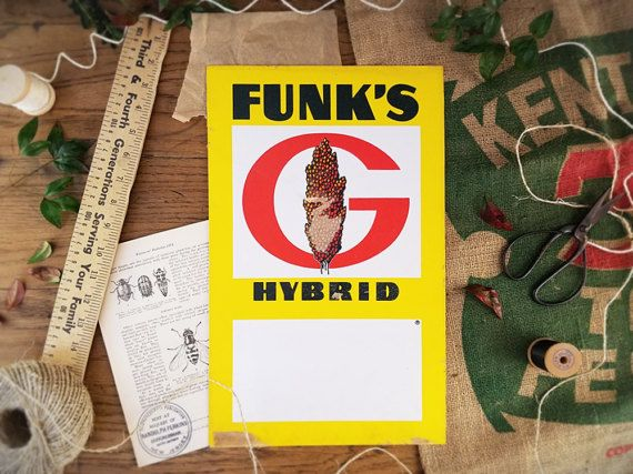Vintage Farm Sign Funk's Hybrids Fertilizer Corn Crop by harbor17