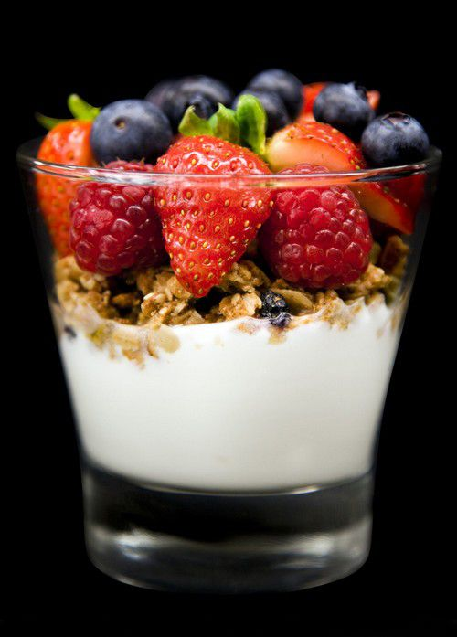 Greek yogurt, granola, strawberries and blueberries. Yum. (Might just be time for a snack!) #healthy #snack